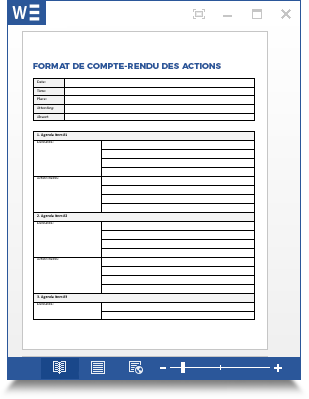action minutes template