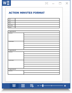 action minutes format